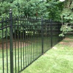 5-foot black aluminum fence with finials and ball caps