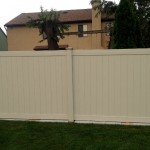 Beige 6-foot vinyl privacy fence
