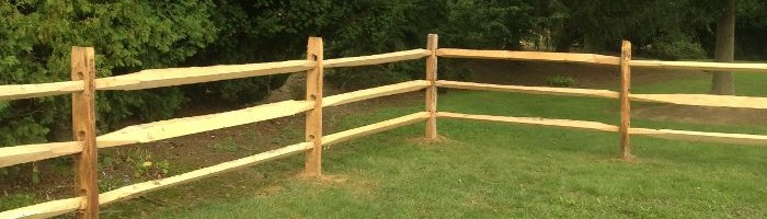 Wooden split rail fence